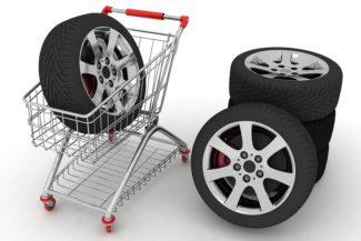 Cart of auto wheels tires
